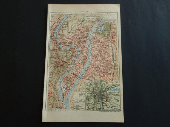 LYON old map 1910 original antique city plan of by VintageOldMaps