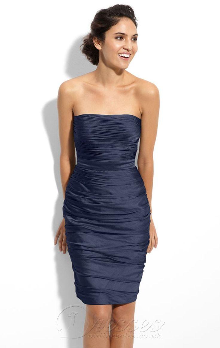 Betaalbare Donkerblauw Schede knie- lengte elastisch geweven satijn strapless jurk met ruches - €181.35 : Professionele trouwjurken winkels, dressesonlinesale.net