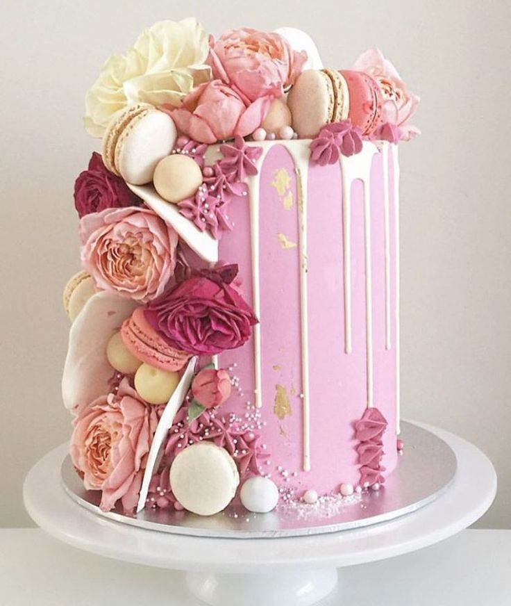 "One of the prettiest Drip Cakes I ever did see! <span class=""emoji emoji1f380""></span> By @tiersandco #cakes #dripcake #macaroons #sugarflowers ..."
