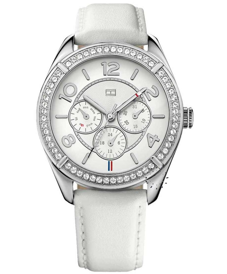 Tommy HILFIGER Crystal White Leather Strap  141€  Αγοράστε το εδώ:  http://www.oroloi.gr/product_info.php?products_id=31031
