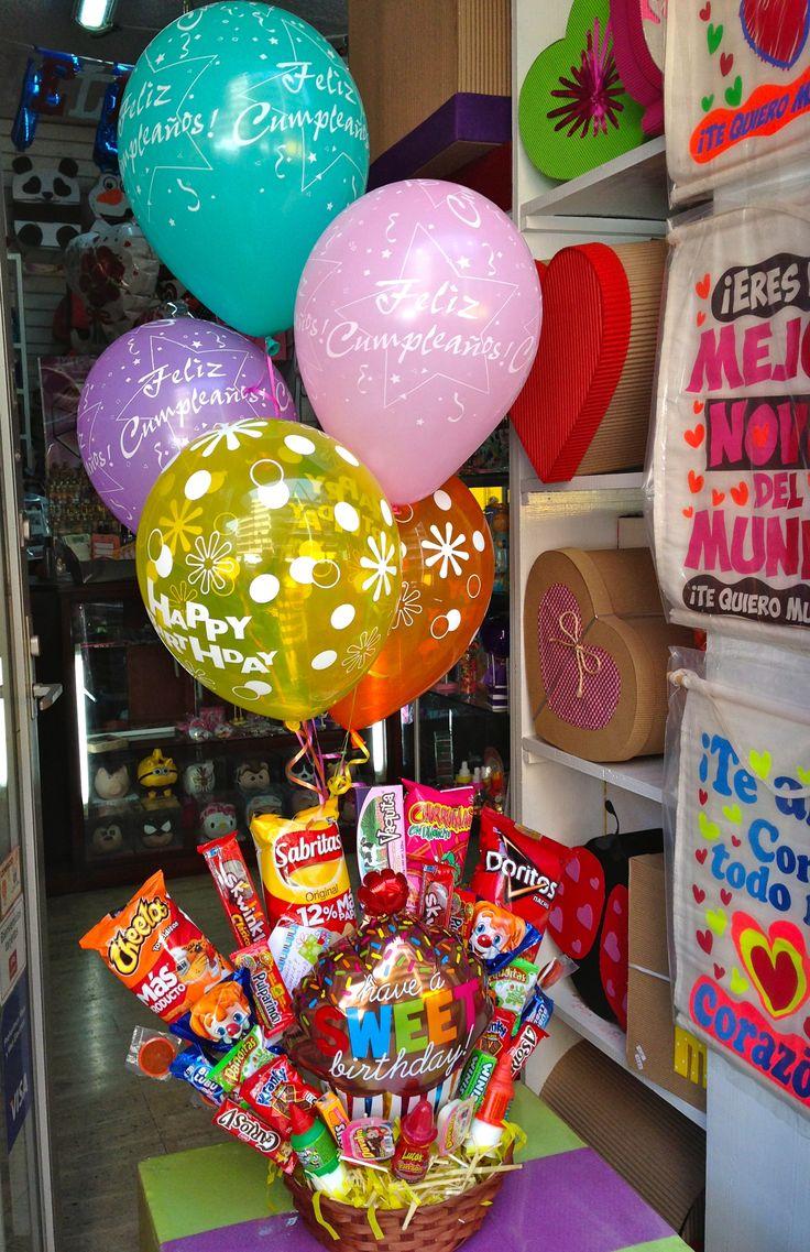 #regalo  directo a #casa  canasto con dulces y chocolates y #botana. con #globos, llama al 55246977 #envíos a domicilio. Regalos Amer
