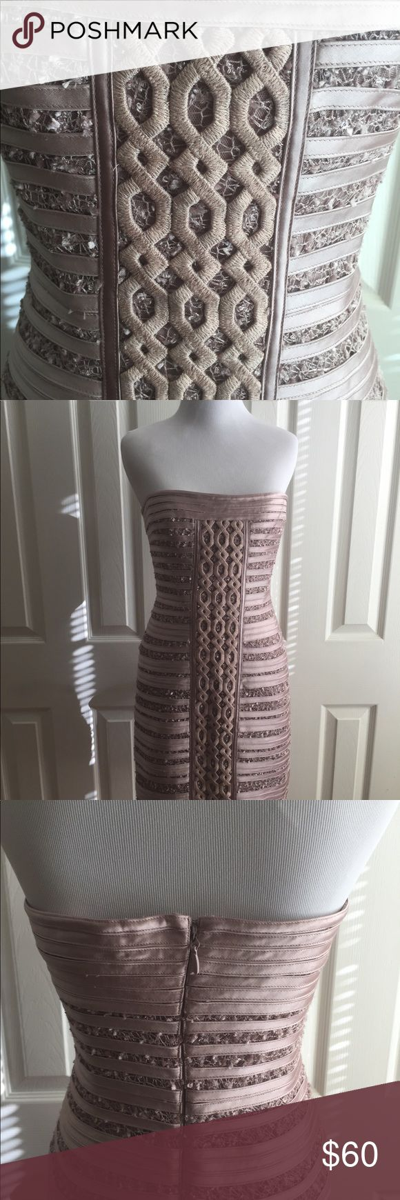 """BCBG MaxAzaria Cocktail Dress Beautiful cocktail dress BCBG MaxAzaria """"Moore"""" strapless Dress with center front detail. Stunning !! 100% polyester. Exceptional detail dress in mauve rose. Thin ribbon like bandage lace-overlay dress. BCBGMaxAzria Dresses Midi"""