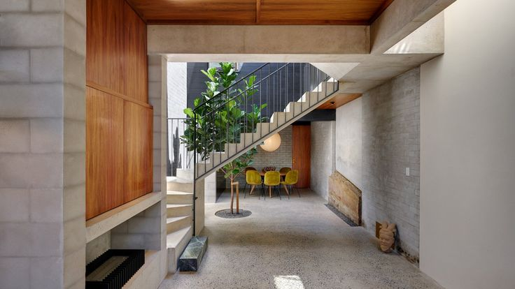 A tree grows up the lightwell that Australian studio Welsh + Major has added to this house in Sydney, and topped with an opening glass roof