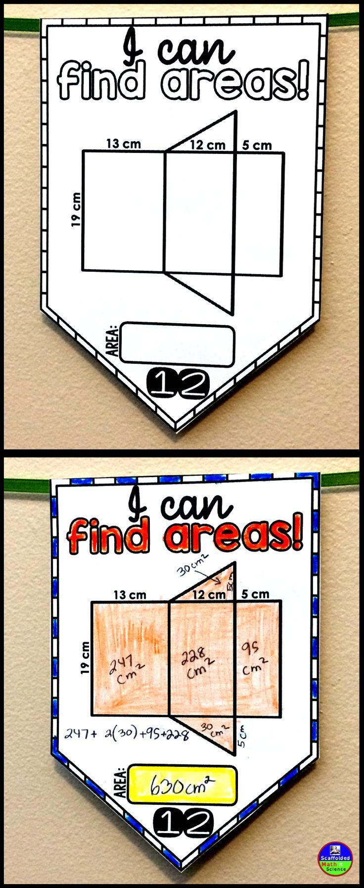 In this collaborative math pennant activity, students find the areas of nets (rectangular prisms, triangular prisms, square pyramids, triangular pyramids) and composite figures that are made of rectangles and triangles. There is no need to know the formula for the area of a trapezoid to compute any of the areas. Once pennants are complete, they can be colored and hung on a string to make a math themed bulletin board display.