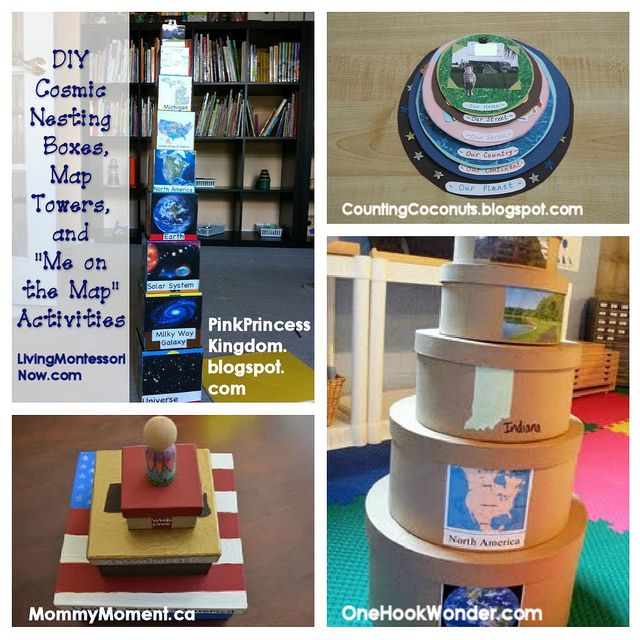"DIY Cosmic Nesting Boxes, Map Towers, and ""Me on the Map"" ActivitiesNesting Boxes, Maps Activities, Diy Cosmic, Maps Towers, Young Children, Livingmontessorinow Com, Nests Boxes, Cosmic Nests, Montessori Mondays"
