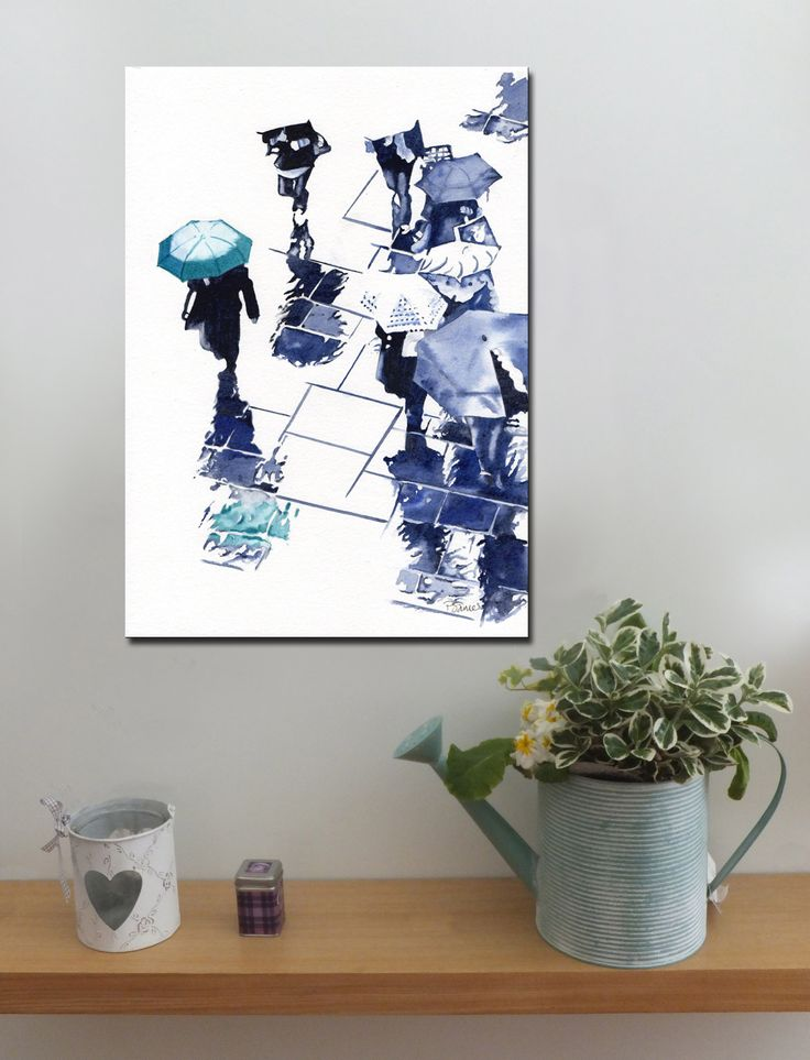 BROLLIES TEAL http://www.splashyartystory.com/shop/art-prints/teal-brolly-and-reflections-art-print-of-painting/