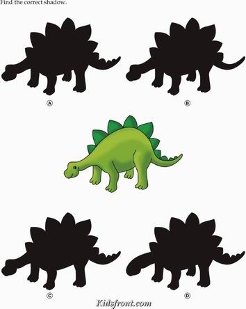 Kids Activity -Match the shadow of Animal(dinasour), Black & white Picture