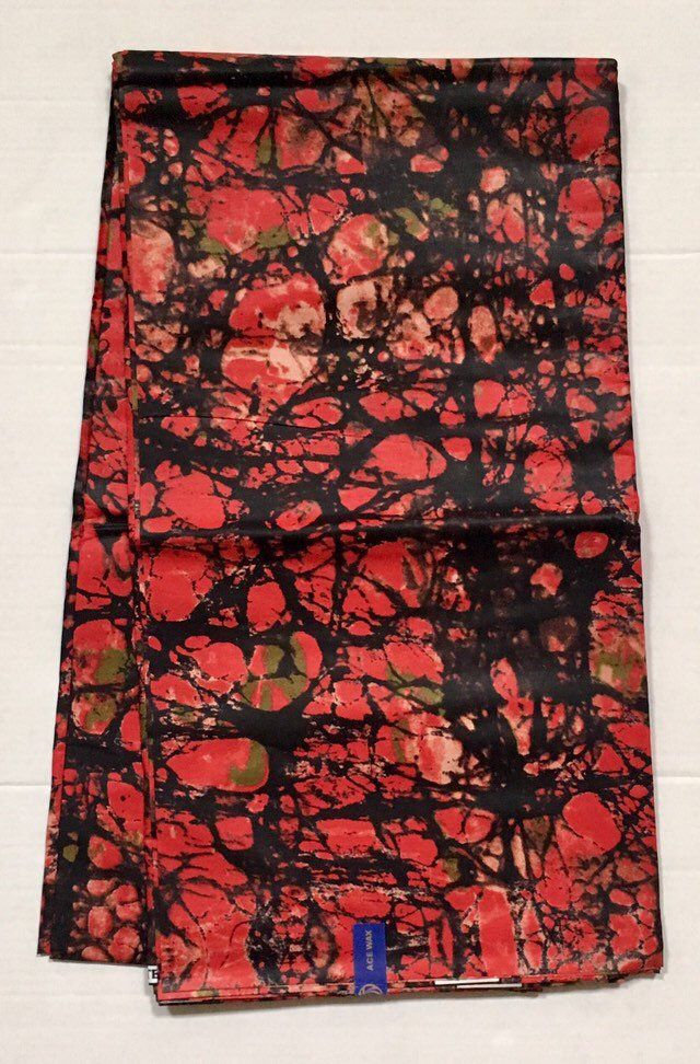6 Yards African Black And Red Fabric Ankara African Print Fabric Apparel Print