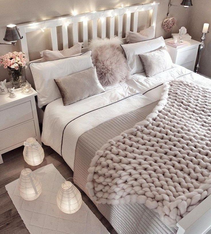Small bedroom decorating ideas with faux fur, pillows, tapestries, lights, etc