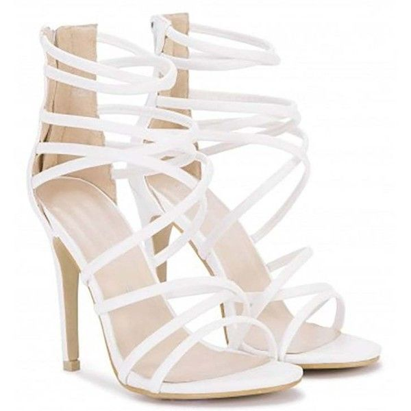 Koi Couture White Strappy Sandals Stilettos Peep Toes High Heels ($39) ❤ liked on Polyvore featuring shoes, sandals, white sandals, strappy heeled sandals, strap sandals, white stiletto sandals and white shoes #strappysandalsheels