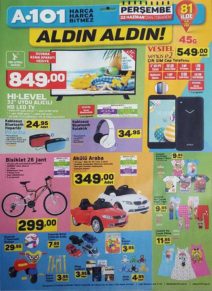 """A101 marketlerde aktüel ürün kampanyaları sürüyor. A101'de bu hafta22 Haziran - 29 Haziran 2017 tarihleri arasında geçerli olacak indirim fırsatlarını aşağıdaki a101 market kataloglarında inceleyebilirsiniz. A101 22 Haziran Perşembe günü satışa sunacağı ürünlerde klasik televizyonumu HI-LEVEL 32"""" uydu alıcılı led tv 849 TL fiyatla satılacak. Ekonomik telefon arayanlar için Vestel venus e2 çift sim kartlı cep telefonu 549 TL fiyatla satılacak. A101 elektronik ürünlerde bluetooth hopa..."""