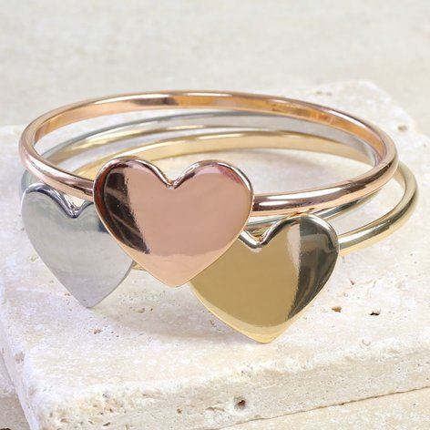 Set of Mixed Metal Heart Bangles at lisaangel.co.uk