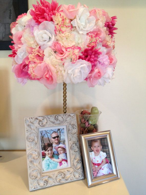 DIY Flower Lamp Shade.  This would be adorable in little girls room..