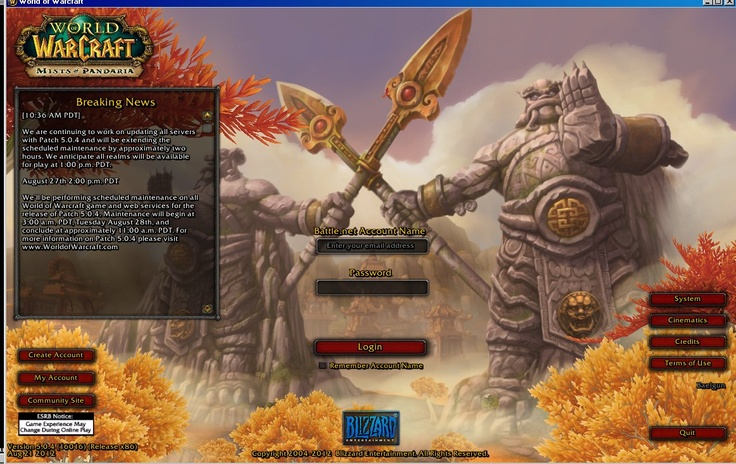 New World of Warcraft login screen. And of course, they extended maintenance but you knew that, right?