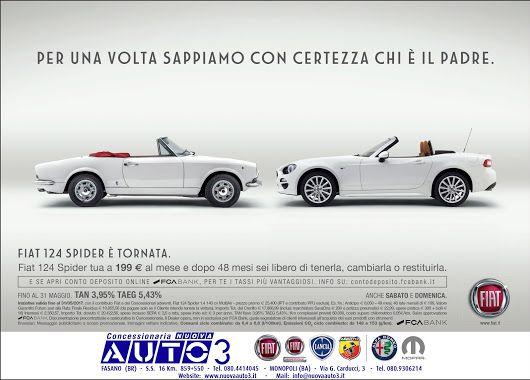#Fiat 124 #spider tua a 199 € al mese e dopo 48 mesi sei libero di tenerla, cambiarla o restituirla.  Anche #sabato e #domenica.  www.nuovaauto3.it
