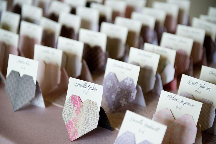 DIY Origami Heart Escort Cards
