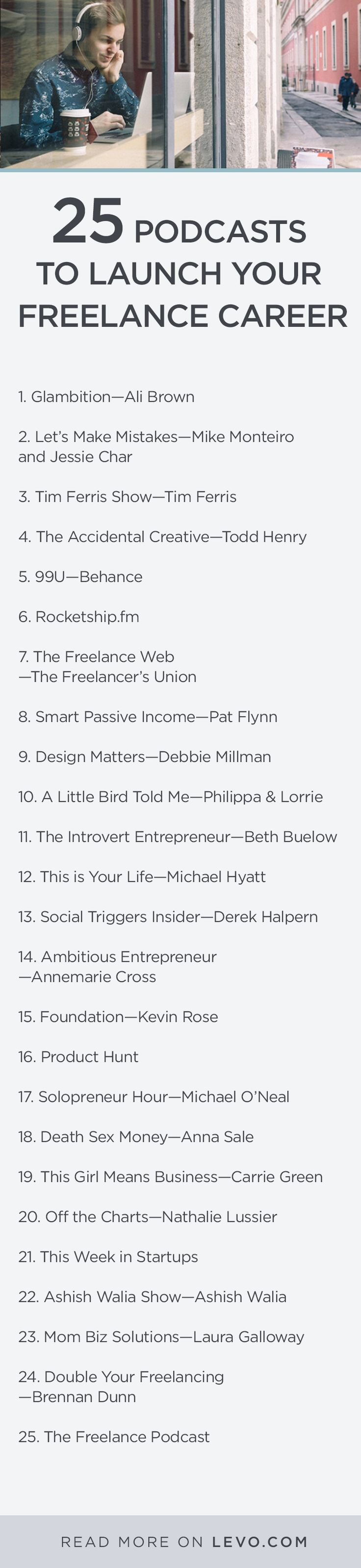 Tim Ferris, Carrie Green, and more will help you make bank.// Here are 25 podcasts to get your freelance career started. @levoleague www.levo.com