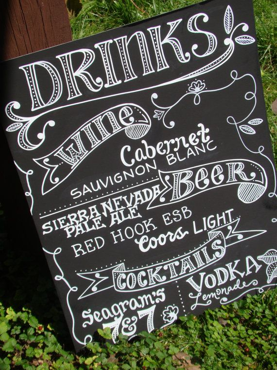 Handwritten Chalkboard Drinks Sign by maryandjack on Etsy, $50.00