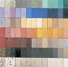 A wide range of colors is possible with both powdered and liquid pigments. Most of these Syndecrete colors are combinations from a basic set of primary colors in white cement. Entirely different tones and hues are achieved by using gray cement.