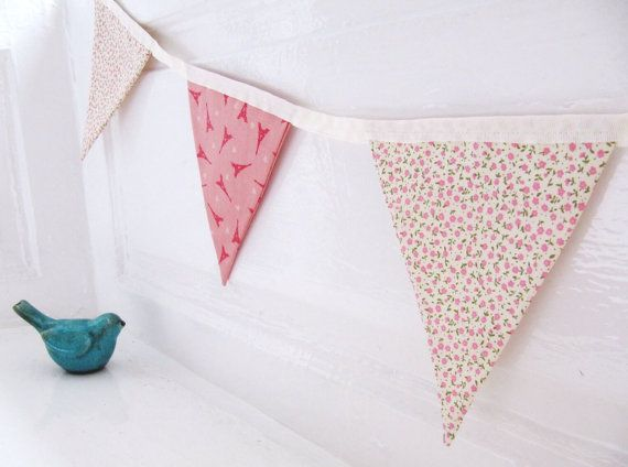 Pretty Cotton Fabric Bunting - Pink and Cream Eiffel Tower and Ditsy Floral Print Garland Bunting