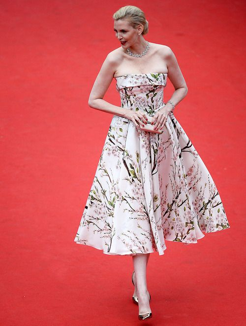 Nadja Auermannat in sakura flowers print 1950s retro style strapless Dolce and Gabbana dress at Cannes Film Festival 2014 Red Carpet #Cannes2014