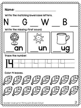 FREE Kindergarten Morning Work Sampler - No-Prep printables that help your students practice writing, math, and reading!