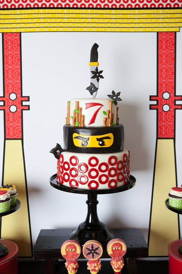 Boys Lego Ninjago Themed Birthday Party Dessert Cake Ideas