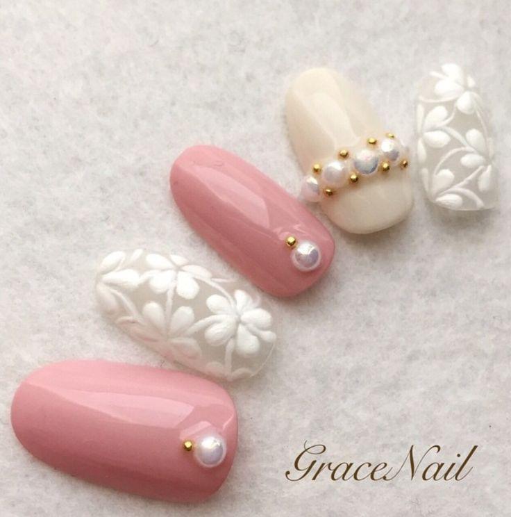 Nails 高明度 清色 ツヤ 春色 ホワイト ピンク