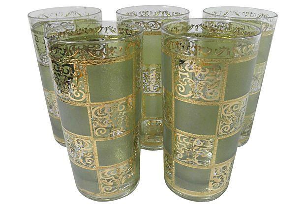 Gold Scroll Glasses, Set of 5 on OneKingsLane.com