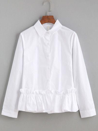 White Ruffle Trim Long Sleeve Shirt