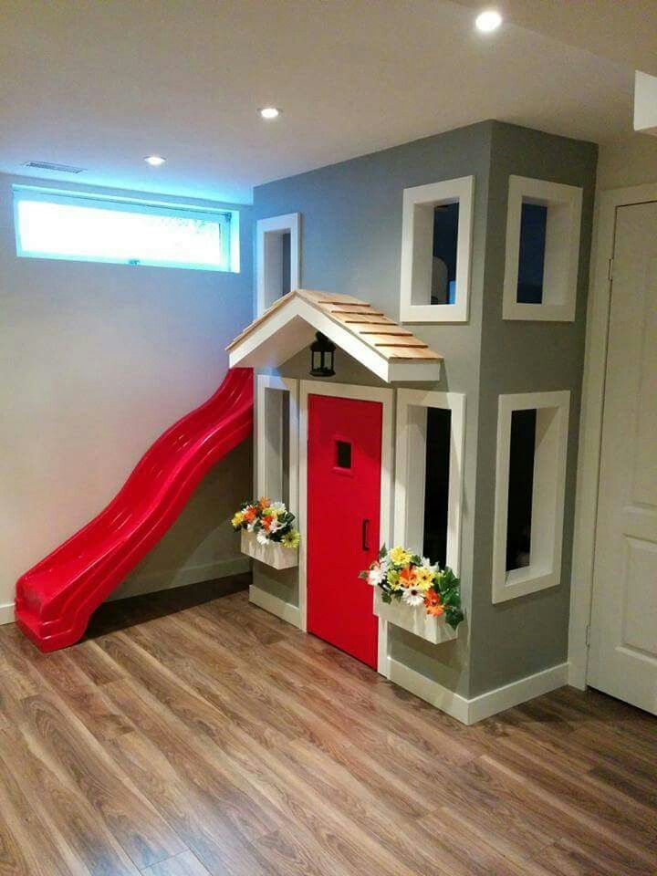 Do a half wall up house for playroom corner.