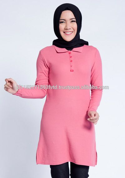 New Product Dauky Long Polo Shirt Light Pink Hijab For The World