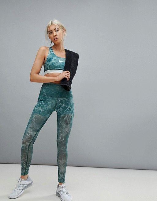fe6ab0d503470 Nike Training Power Leggings In Mint Tulle Mesh | Gym Wear 2018 | Fashion,  Nike, Asos sale