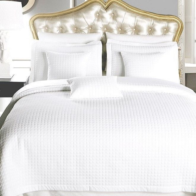 White Luxury Checkered/Quilted Microfiber Coverlet Set