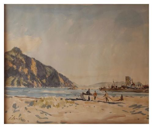 Robert Broadley   'Fisherman, Hout Bay'   Signed and Dated 1971   Watercolour on Paper