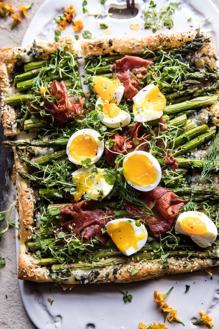 Asparagus, Egg, and Prosciutto Tart with Everything Spice | halfbakedharvest.com #spring #tart #brunch #asparagus