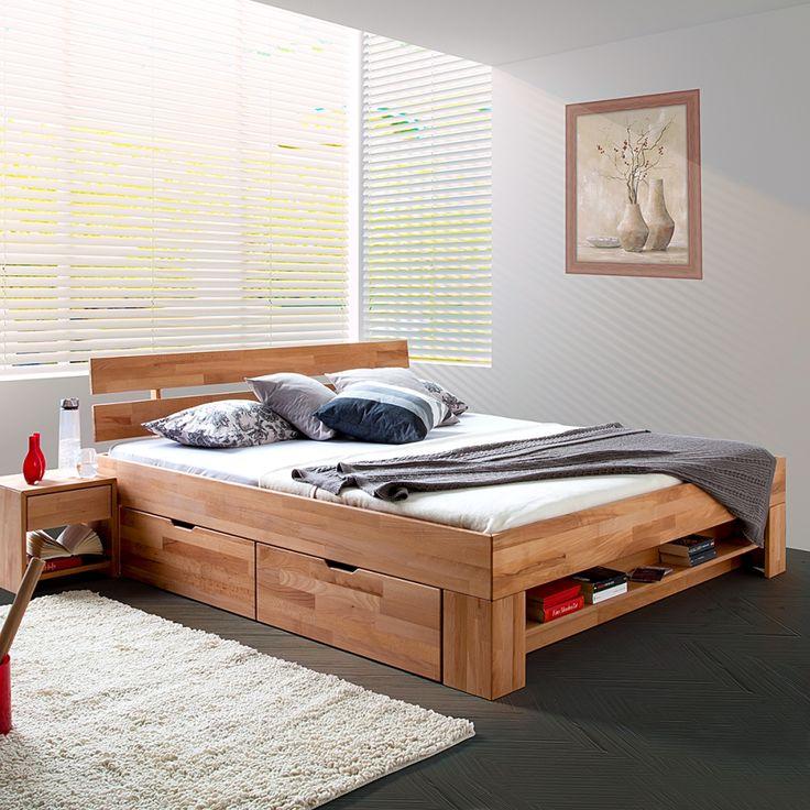 Lit en bois massif Eos - 4 coffres à parure de lit inclus - Duramen de hêtre massif - Huilé