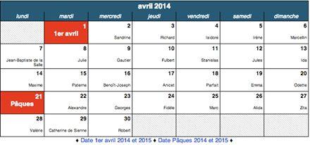 Dates des fêtes: http://www.merci-facteur.com/dates-des-fetes.php AVRIL 2014 :  #Date #Avril #Fête #Calendrier