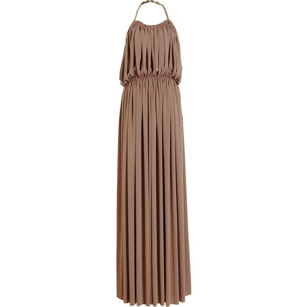 Lanvin Cutaway Gown ($999) ❤ liked on Polyvore featuring dresses, gowns, long dresses, maxi dresses, halter maxi dress, brown maxi dress, halter neck maxi dress and open back gown