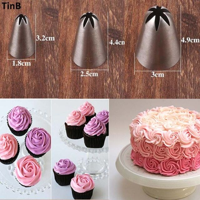 3pcs Rose Flower Ice Cream Piping Tip Nozzle Cake Decorating Diy Pastry Tool Cream Cake Icing Piping Russia Cake Decorating Piping Cake Decorating Piping Icing
