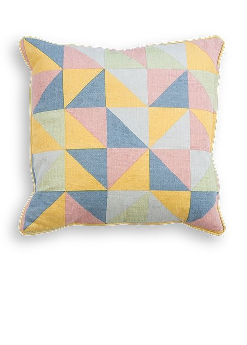 The Elbert Square Scatter Cushion, in Pastel Mix. A geometric, 100% cotton cushion, designed by MADE Studio. £12. MADE.COM