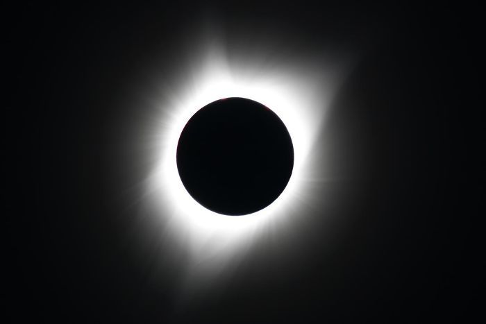 The Corona Of The Sun Is Visible During The Totality Of The Solar Eclipse Viewed From Dallas, Oregon