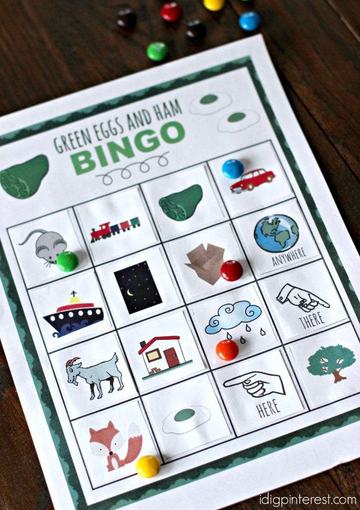 Green Eggs and Ham Bingo. Celebrate Dr. Seuss' birthday on March 2nd with a fun game of Green Eggs and Ham Bingo with the kids! This is a fun Dr. Seuss themed party game too! Grab your free printable bingo card and playing pieces.