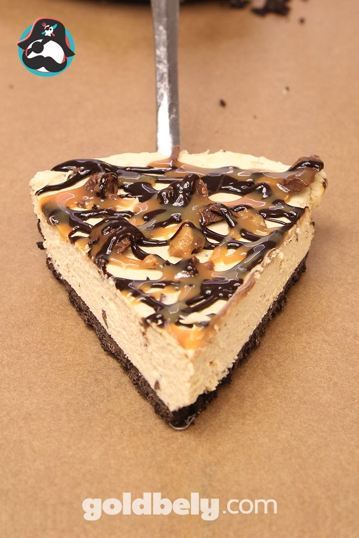 We've named this the best Reese's Peanut Butter Pie in The USA: Tasty & gorgeous enough to send as a gift or to serve at a soiree! A light and creamy filling made with Reese's® peanut butter and topped with crumbled pieces of Reese's Peanut Butter Cups®. Dizzled with Chocolate Ganache and Caramel.  Swoon baby, swoon!