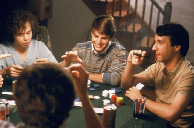 Tom Cruise, Bronson Pinchot and Curtis Armstrong in Risky Business