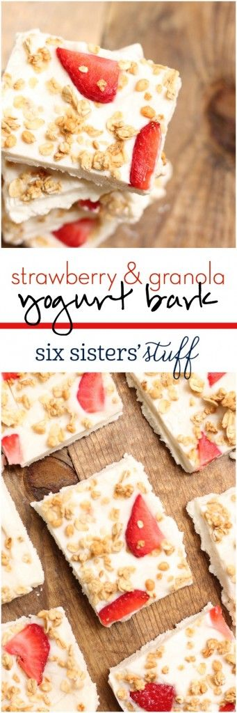 4 Ingredient Strawberry & Granola Yogurt Bark. Makes a great healthy snack! Recipe from Six Sisters' Stuff