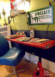Desk made from tailgate, chair from bucket seat.....so awesome!! Going to make a desk like this for our garage/shop!!