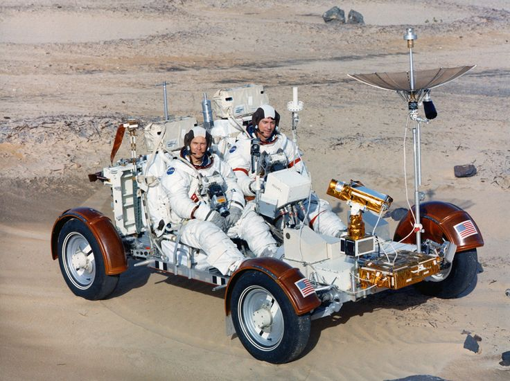 A Look Back at Apollo 16 - Astronauts John Young and Charles Duke drive a Lunar Roving Vehicle trainer on a simulated lunar surface on Earth on December 22, 1971.