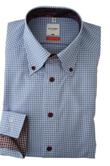 Een geweldig licht blauw geruit overhemd. Met een leuk afgewerkte kraag.http://www.hemdenonline.nl/item-overhemden-olymp-olymp-6338-64-11-3036p39_53.html Olymp 6338-64-11