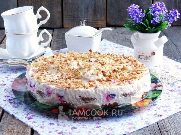 Фото торта из овсяного печенья без выпечки